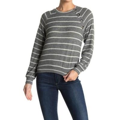 ジュンアンドハドソン レディース パーカー・スウェットシャツ アウター Button Trim Knit Sweatshirt CHARCOAL STRIPE