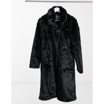アーバンコード レディース コート アウター Urban Code longline faux fur coat in black Black