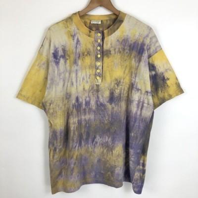 古着 タイダイTシャツ ヘンリーネック ヴィンテージ イエロー系 メンズL 中古 n021293