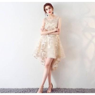 ワンピース ドレス ミニ丈 フィッシュテール ノースリーブ 刺繍 ブライダル お呼ばれ パーティー 上品 フォーマル 結婚式 20代 春夏 d532