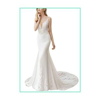 Fenghuavip Spaghetti Straps Wedding Dress Lace Appliques Long Train Beach Bride Gowns White並行輸入品