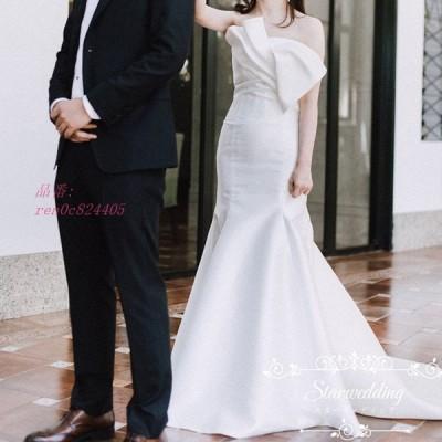 ロングドレス 結婚式 パーティードレス マーメイドラインドレス ウェディグドレス ウエディング 挙式 二次会 白 花嫁 前撮り 大きいサイズ