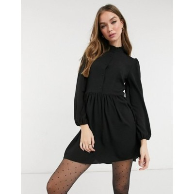 エイソス レディース ワンピース トップス ASOS DESIGN long sleeve button front mini smock dress in black