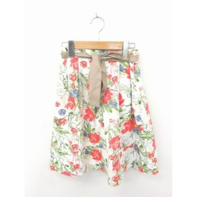 【中古】CHERRY ANN スカート フレア ひざ丈 花柄 ウエストリボン F 白 緑 ホワイト グリーン /TT19 レディース