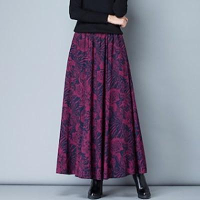 レトロ フレアスカート ミモレ丈 ロング 大きいサイズ 冬 ロングフレアスカート 【T004-HALN0679】