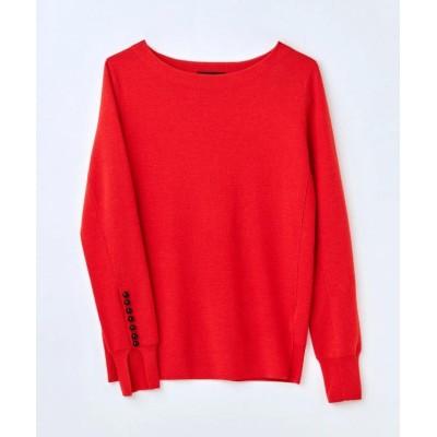【ICB(大きいサイズ)】 Wool Silk Mirano 袖パールニット レディース レッド系 L ICB(LARGE SIZE)