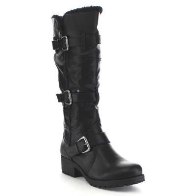 ブーツ シューズ 靴 海外厳選ブランド ベストon BA43 レディース Lug Sole Fur Trim バックル ストラップ Detail ニーハイ ライディング ブーツ BLACK