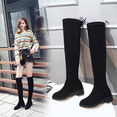 ロングブーツ 大きいサイズ  美脚  靴 長靴  ニーハイブーツ  レディース ロングブーツ 太ヒールブーツ レディース靴 カラー ハイヒール 福袋