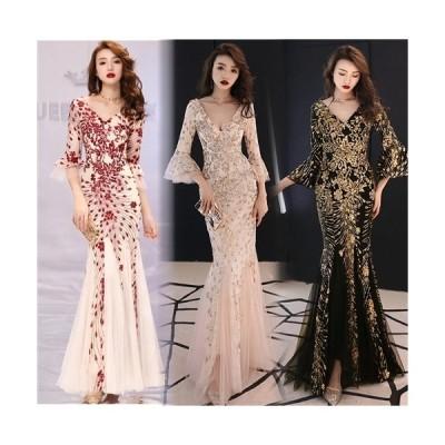 エレガントなスパンコール装飾デザイン メッシュレース重ねロングドレス