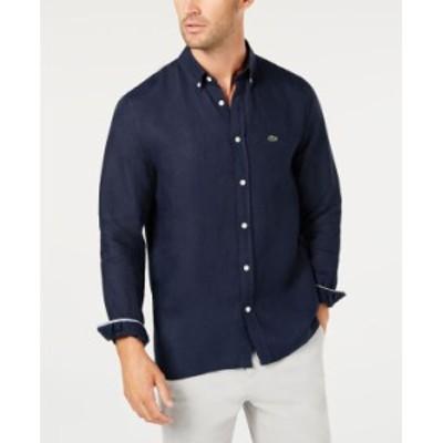 ラコステ メンズ シャツ トップス Men's Regular Fit Long Sleeve Linen Pocket Shirt Navy