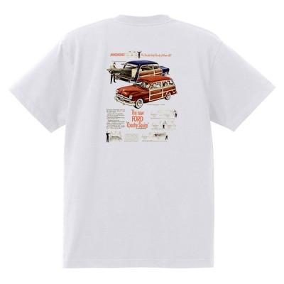 アドバタイジング フォード Tシャツ 白 1056 黒地へ変更可 1950 ビクトリア クレストライナー シューボックス f1 ホットロッド ロカビリー