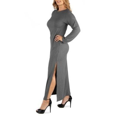 24セブンコンフォート レディース ワンピース トップス Form Fitting Long Sleeve Side Slit Plus Size Maxi Dress