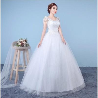 透け感レース体型カバー ワンピース イブニングドレス ロング フォーマル パーティードレス 結婚式 花嫁プリンセスライン ウエディングドレス ブライダル 冠婚
