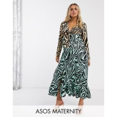 エイソス レディース ワンピース トップス ASOS DESIGN Maternity knot front maxi dress in mixed animal print Green/orange zebra