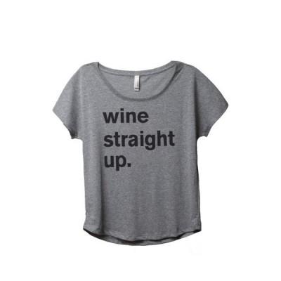 レディース 衣類 トップス Thread Tank Wine Straight Up Women's Relaxed Slouchy Dolman T-Shirt Tee Heather Grey Medium