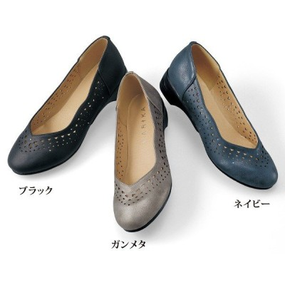 シューズ レディース / エアソールビジュー付パンチングパンプス / 40代 50代 60代 70代 ミセスファッション シニアファッション 靴