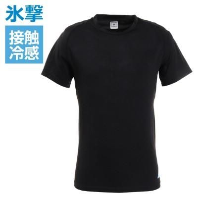 FREEZE TECHサッカー 氷撃 接触冷感 冷却インナーシャツ 半袖 クルーネック コンプレッション 猛暑対策 熱中症対策ブラック
