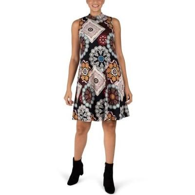 ロビービー ワンピース トップス レディース Sleeveless Printed Trapeze Dress Black Multi