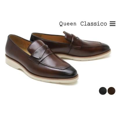 クインクラシコ / Queen Classico メンズ カジュアルシューズ 13310ax ローファー ブラウン ダークネイビー