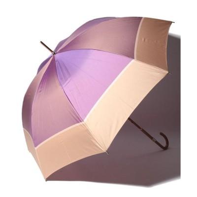 【ランバンコレクション(傘)】LANVIN COLLECTION(ランバン コレクション)婦人長傘ポリエステルツイル先染ボーダー