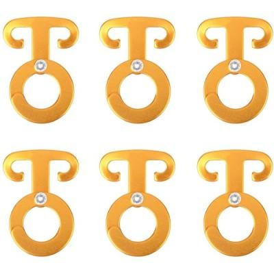 TRIWONDER ロープフック キャンプハンガー アルミ 自在金具 引掛けフック ロープハンガー アウトドア ランタン用 (ゴールド - 6個)