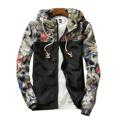 メンズジャケット スカジャン 春秋 プリント柄 大きいサイズあり フード付き カジュアル パーカー