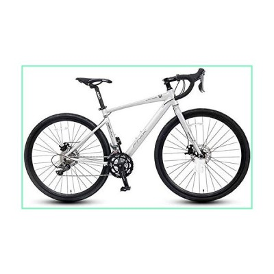 IMBM Adult Road Bike, 16 Speed Student Racing Bicycle, Lightweight Aluminium Road Bike with Hydraulic Disc Brake, 700 32C Tires,Silver,Straight Handle