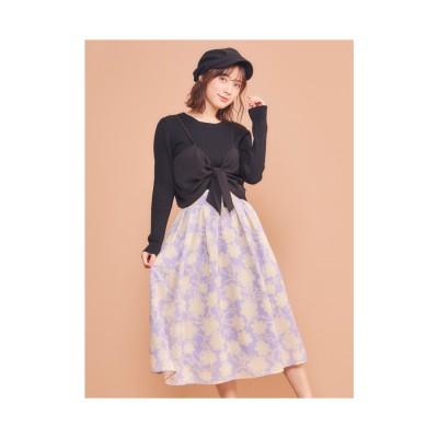 MIIA オリジナル単色フラワースカート パープル