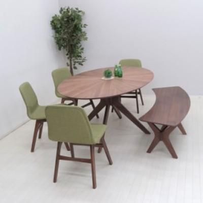 幅182cm ダイニングセット 楕円テーブル 6点 sbkt182-6-pani339wn 北欧 光線張り ウォールナット GR色 オーバル チェア 32s-7 so