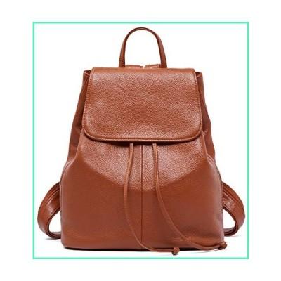 Genuine Leather Backpack for Women Elegant Ladies Travel School Shoulder Bag Orange-Caramel並行輸入品