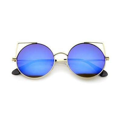 Women's Full Metal Cut Out Mirror Flat Lens Round Cat Eye Sunglasses 55mm (Gold/Blue Mirror)【並行輸入品】