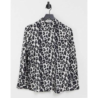 マンゴ Mango レディース ブラウス・シャツ トップス animal print shirt in mono ブラック