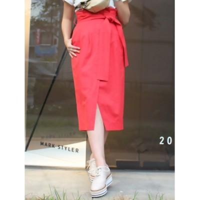 【マーキュリーデュオ/MERCURYDUO】 ウエストリボン付ラップ風タイトスカート