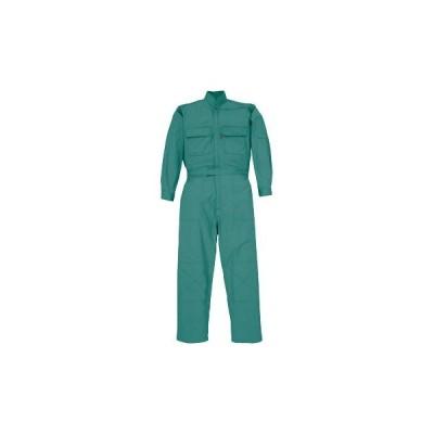 34001 綿混ツナギ服(楽脱ファスナー)(男女兼用) ジーベック 34001 グリーン/5L