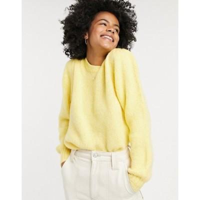 オンリー レディース ニット・セーター アウター Only benin long sleeve casual sweater in yellow