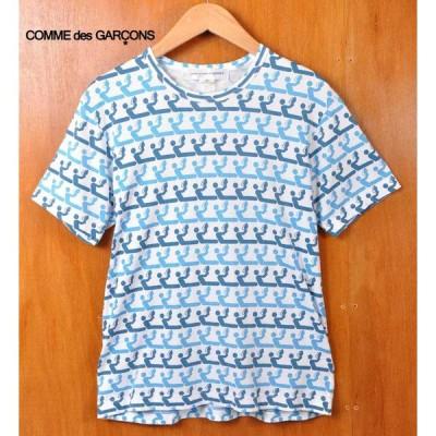 トルコ製 COMME des GARCONS SHIRT コム・デ・ギャルソン シャツ 半袖Tシャツ ホワイト×ブルー系読書柄 総柄