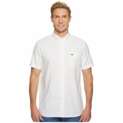 ラコステ メンズ シャツ トップス Short Sleeve Oxford Button Down Collar Regular White