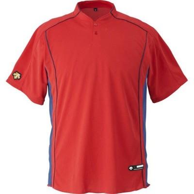 [DESCENTE]デサント立衿2ボタンベースボールシャツ(DB109B)(RED)レッド[取寄商品]