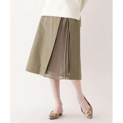【大きいサイズあり・13号・15号】クリアツイルドッキングプリーツスカート
