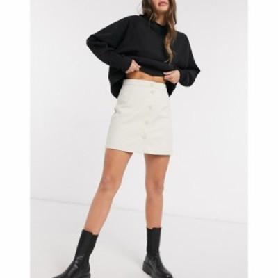 モンキ Monki レディース ミニスカート スカート Rio Button Front Mini Skirt In White ホワイト