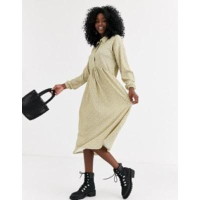 エイソス レディース ワンピース トップス ASOS DESIGN Long sleeve smock shirt dress in ditsy print Green ditsy