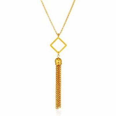   ELYA Gold Plated Polished Diamond Shaped Tassel Stainless Steel Pendant Necklace