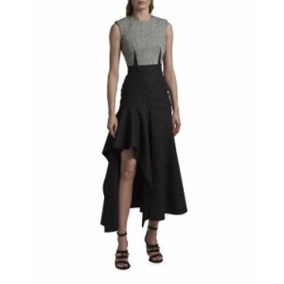 アレキサンダー・マックイーン レディース ワンピース トップス Darted Two-Tone Wool High-Low Dress BLACK