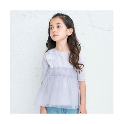 【エフオーオンラインストア】 お花チュールTシャツ キッズ ラベンダー 140 F.O.Online Store