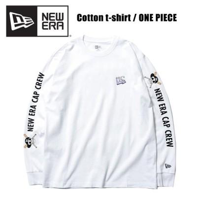 ニューエラ NEW ERA  長袖 コットン Tシャツ ONE PIECE ワンピース 悪魔の実 フラッグロゴ NEW ERA CAP CREW White  長袖Tシャツ 男性用  [AA]