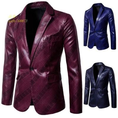 メンズ 上着 スーツ 演出 模様 アウター スリム テーラードジャケット カジュアル ひとボタンレーザー オーバー 3色