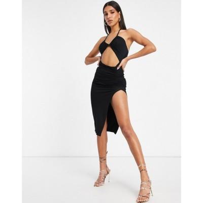 エイソス ASOS DESIGN レディース ワンピース ミドル丈 ワンピース・ドレス cut out strappy halter midi dress with side split in black