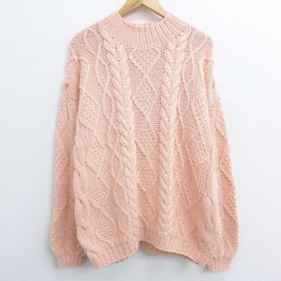 古着 レディース 長袖 ケーブル セーター 90s 大きいサイズ ハイネック モックネック ピンク系 20sep28 中古 ニット トップス