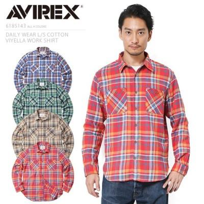 ポイント10倍!AVIREX アビレックス 6185143 デイリーウエア L/S コットンビエラ ワークシャツ メンズ ネルシャツ チェック ブランド【クーポン対象外】