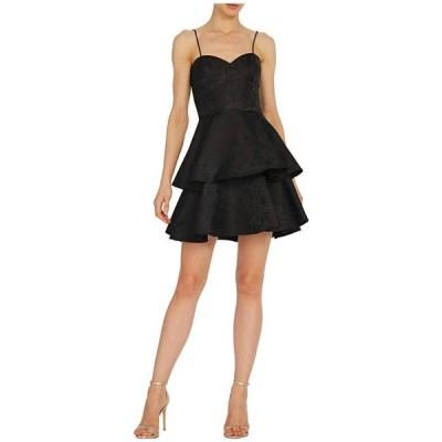 モニーク ルイリエ レディース ワンピース トップス Sleeveless Jacquard Dress w/ Ruffled Tiers